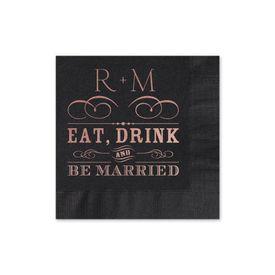 Be Married - Black - Foil Cocktail Napkin