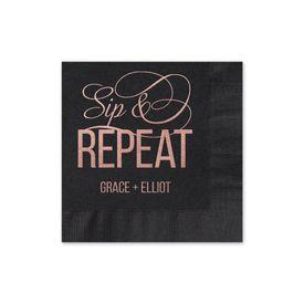 Sip & Repeat - Black - Foil Cocktail Napkin