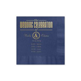 Party Itinerary - Navy - Foil Cocktail Napkin