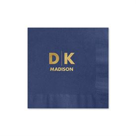 Modern Signature - Navy - Foil Cocktail Napkin