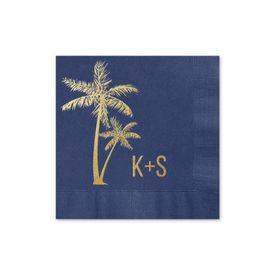 Palm Trees - Navy - Foil Cocktail Napkin