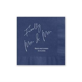 Finally Mrs. and Mrs. - Navy - Foil Cocktail Napkin