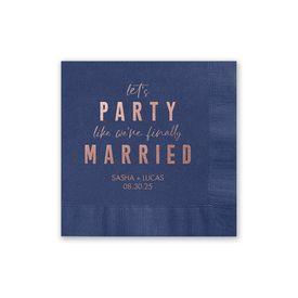 Party Time - Navy - Foil Cocktail Napkin