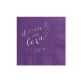 Drunk on Love - Purple - Foil Cocktail Napkin