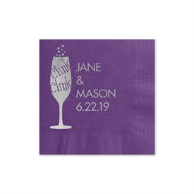 Clink Clink - Purple - Foil Cocktail Napkin