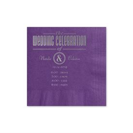 Party Itinerary - Purple - Foil Cocktail Napkin