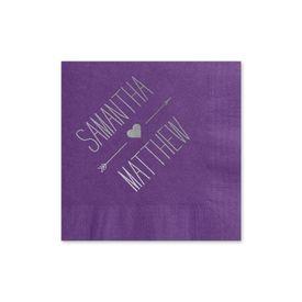 Heart and Arrow - Purple - Foil Cocktail Napkin