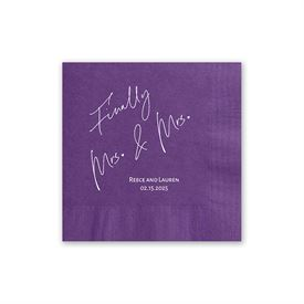Finally Mrs. and Mrs. - Purple - Foil Cocktail Napkin