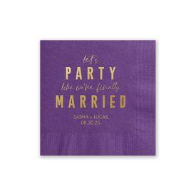 Party Time - Purple - Foil Cocktail Napkin