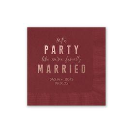 Party Time - Wine - Foil Cocktail Napkin