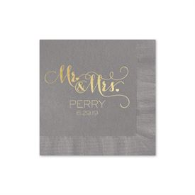 Mr. and Mrs. - Pewter - Foil Cocktail Napkin