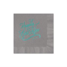 Happily Ever After - Pewter - Foil Cocktail Napkin