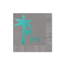 Palm Trees - Pewter - Foil Cocktail Napkin
