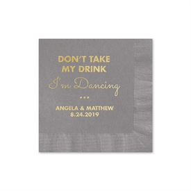 Busy Dancing - Pewter - Foil Cocktail Napkin