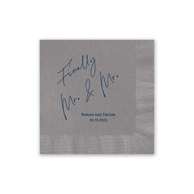 Finally Mr. and Mr. - Pewter - Foil Cocktail Napkin
