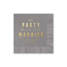 Party Time - Pewter - Foil Cocktail Napkin