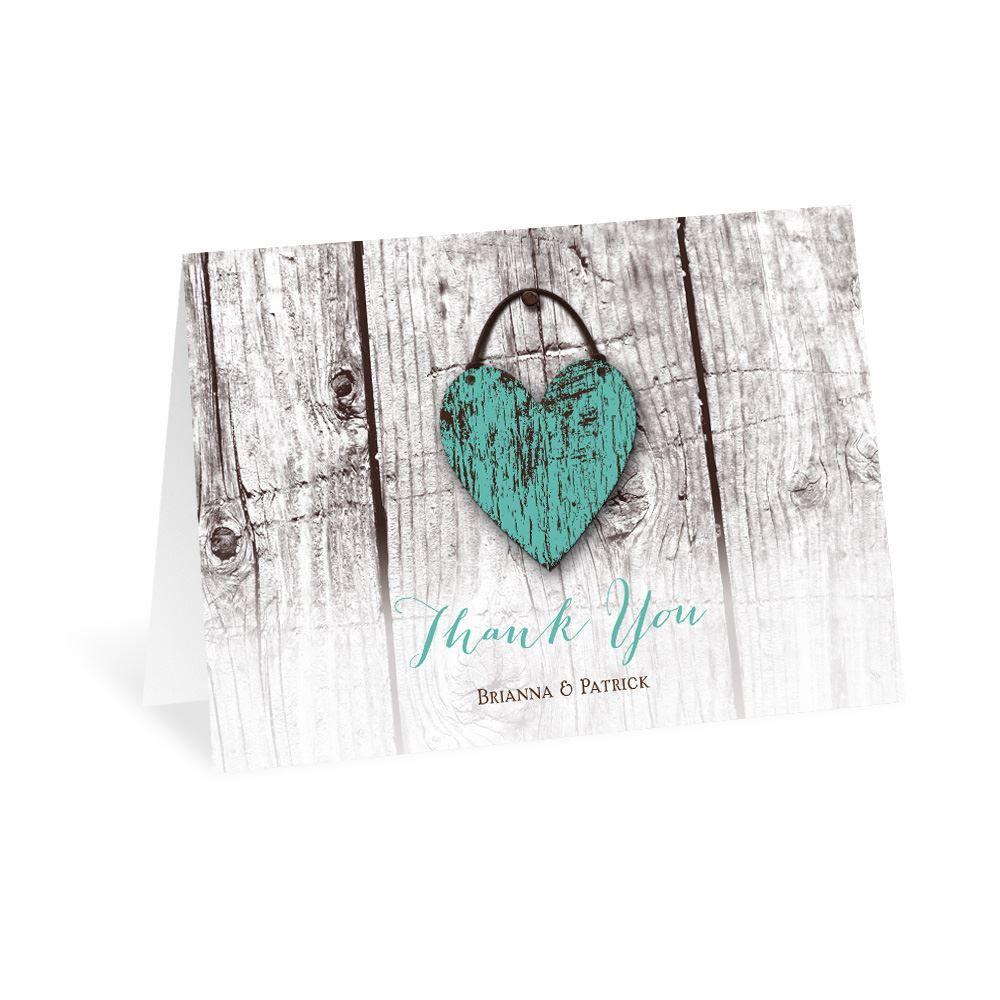 wood heart thank you card  ann's bridal bargains
