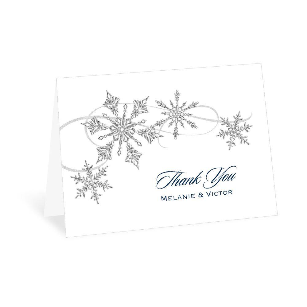 Snowflake Sparkle Thank You Card Ann S Bridal Bargains