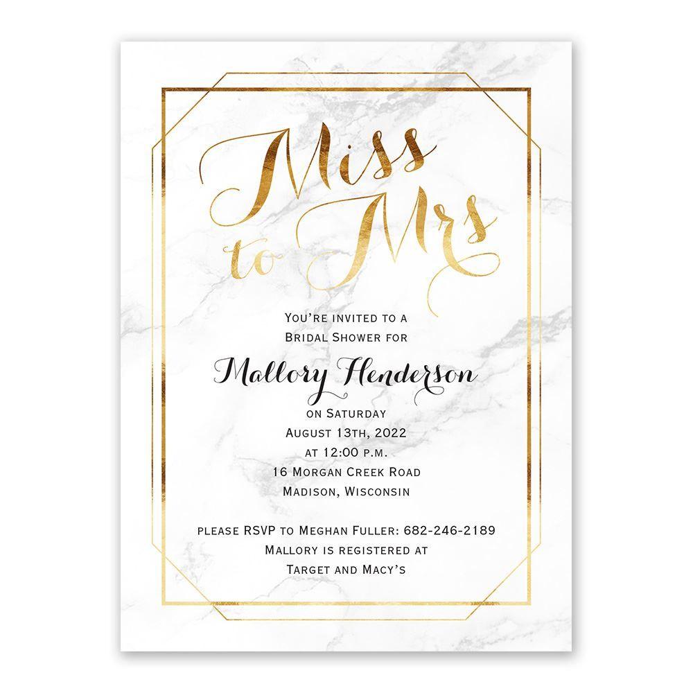 Marble Frame Bridal Shower Invitation