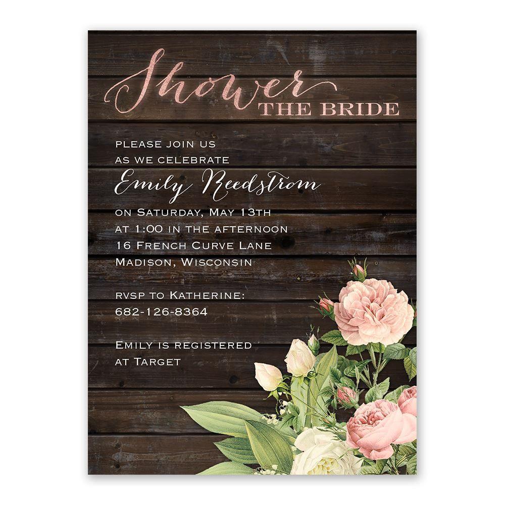 Rustic Fl Bridal Shower Invitation