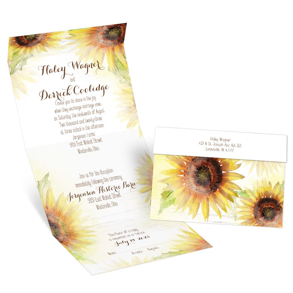 Rustic Sunflower Wedding Invitations and Self Mailing RSVP Cards Includes Envelopes for Set