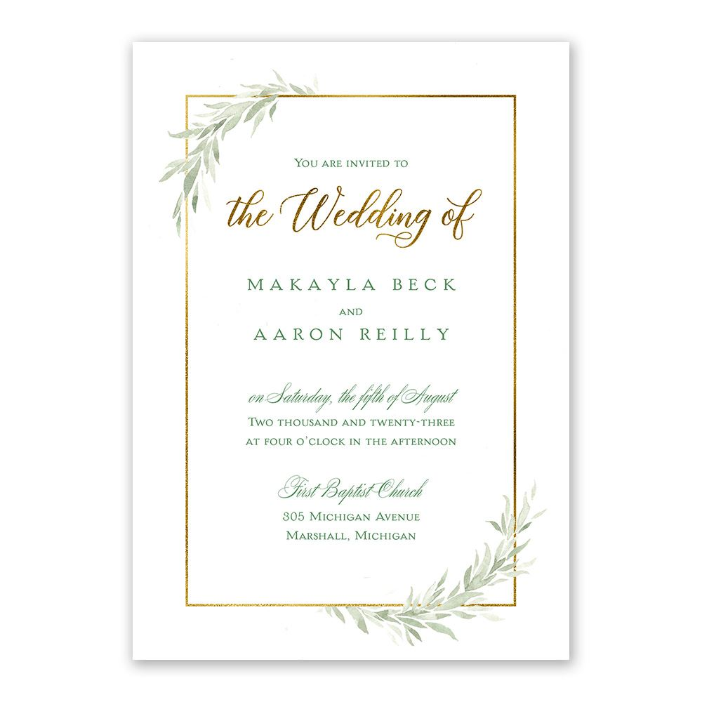 set of 20 Formal Mountain Wedding Invitation and Reply Postcard in Green Tones