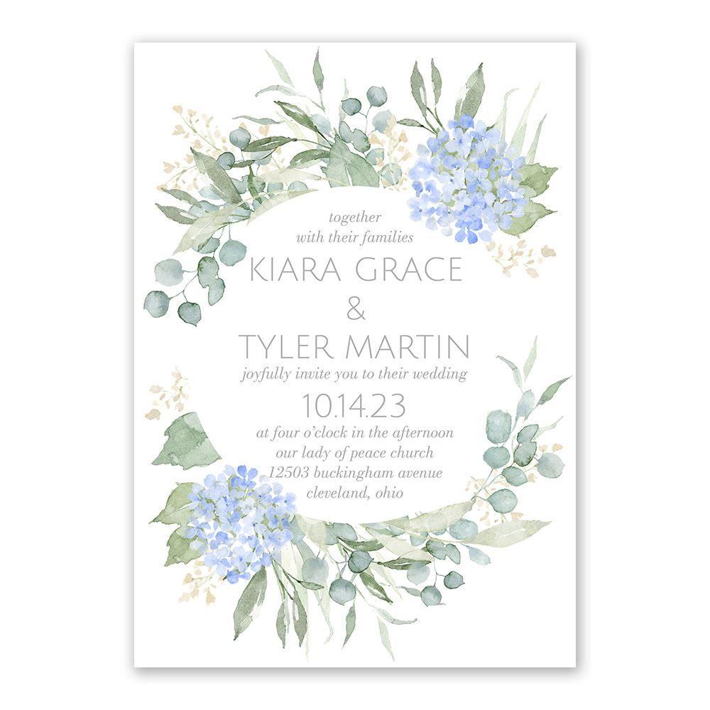Blue Hydrangea Invitation With Free Response Postcard Ann S Bridal Bargains