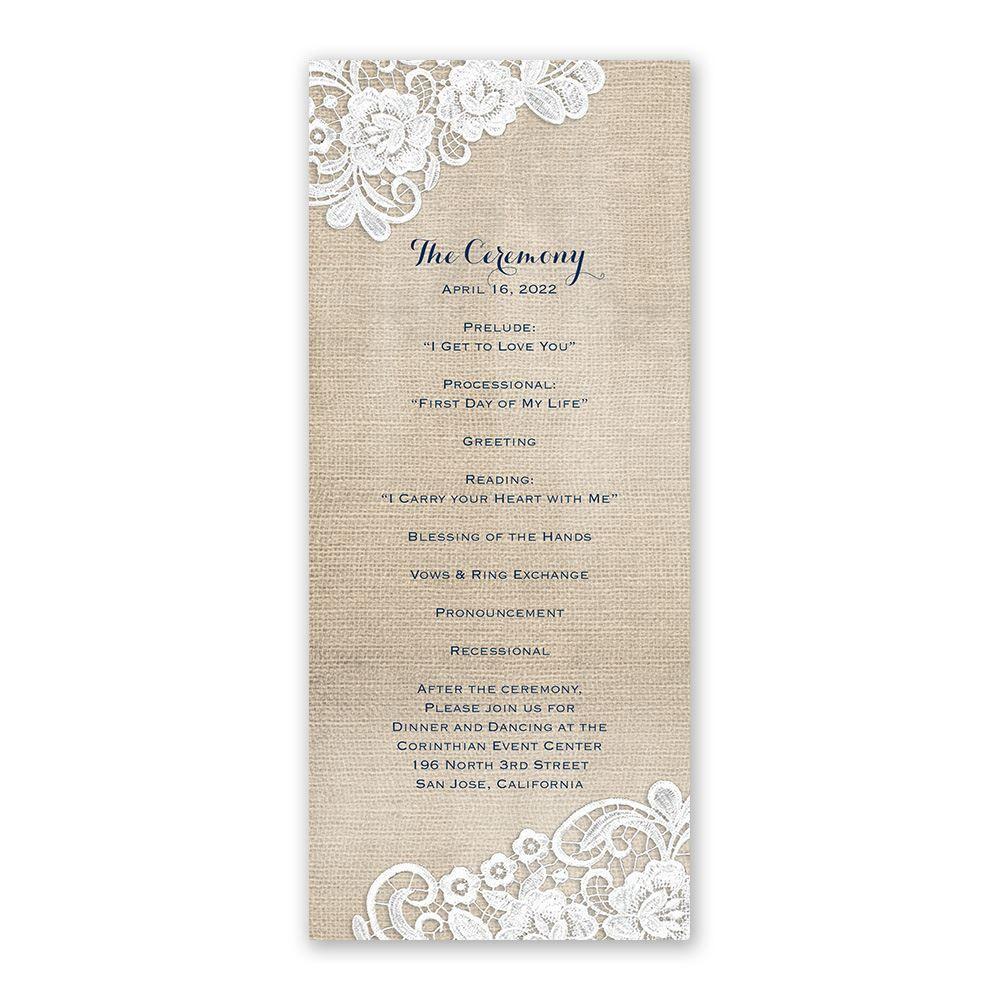 Burlap And Lace Frame Wedding Program Ann S Bridal Bargains