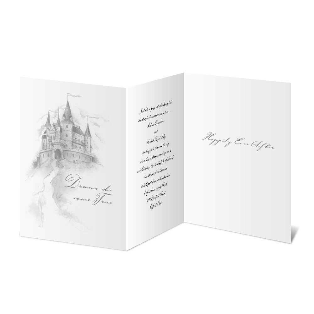 Happily Ever After Tri Fold Invitation | Ann's Bridal Bargains